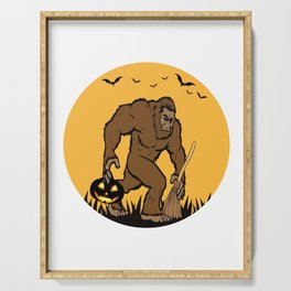 Halloween Gift for Bigfoot lovers - Bigfoot with Broom and Jack O' Lantern Serving Tray