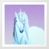 Lilac unicorn Art Print