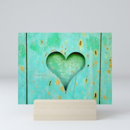Love Heart On Blue Wood Background Mini Art Print