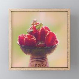 Raspberries fruit enjoyment Framed Mini Art Print