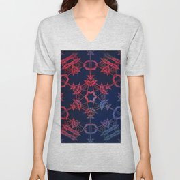 Blue and red glow tribal mandala Unisex V-Neck