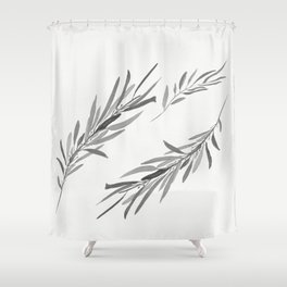 Eucalyptus leaves black and white Shower Curtain