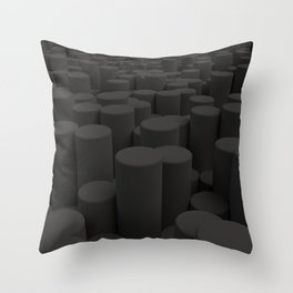 Pattern of black cylinders Throw Pillow