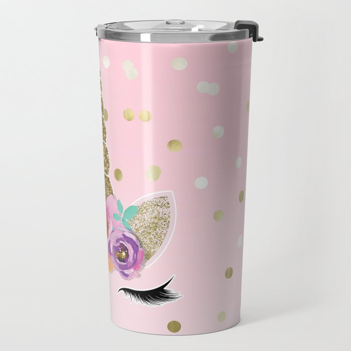 Floral Trendy Modern Unicorn Horn Gold Confetti Travel Mug