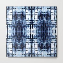 Blue Shibori Plaid Metal Print