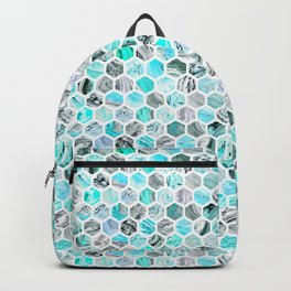 Blue & Gray Marble Geometric Hexagon Pattern Backpack