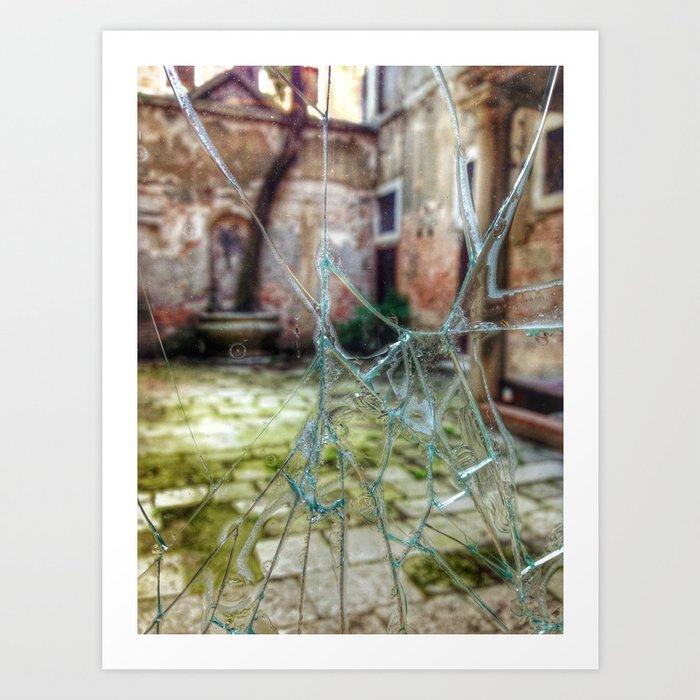 Broken window to Venice courtyard Art Print