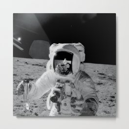 Apollo 12 - Face Of An Astronaut Moon Selfie Metal Print
