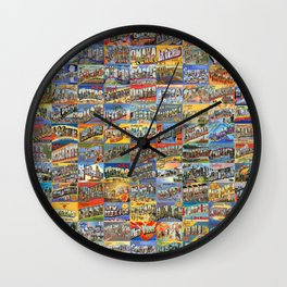 Greetings From Postcards Wall Clock