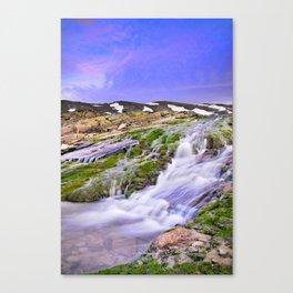 River San Juan. Waterfall At Sunset Canvas Print