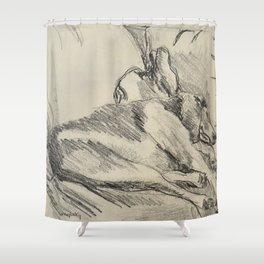 Elwood on the sofa Shower Curtain