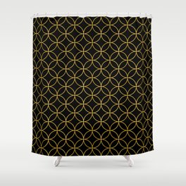 Japanese Traditional Design1 -SHIPPO- Black & Gold Shower Curtain