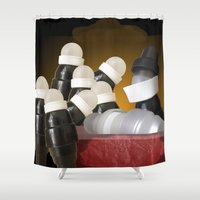 anatomical heart Shower Curtains featuring Anatomical lesson by Ruud van Koningsbrugge