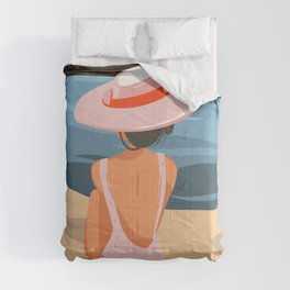 Relaxing girl in pink hat on beach landscape background, Hand drawn cartoon summer time illustration Comforters