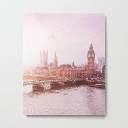 London in Pink Metal Print