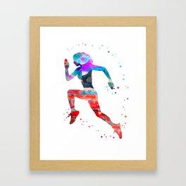 Running woman, jogger Framed Art Print