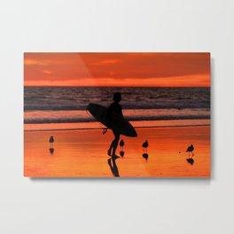 Golden Sunset Surf City Metal Print