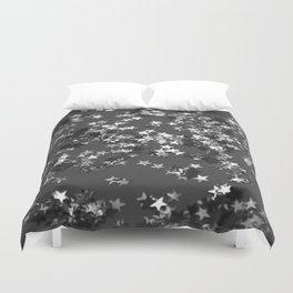 Gray Black Night Glitter Stars #1 #shiny #decor #art #society6 Duvet Cover