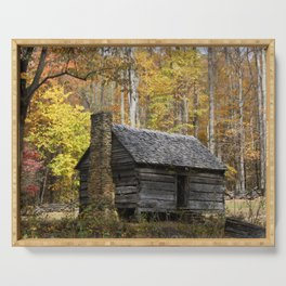 Smoky Mountain Rural Rustic Cabin Autumn View Serving Tray