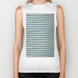Abstract Stripes Gold Tropical Ocean Blue Biker Tank