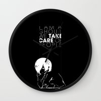 tokyo ghoul Wall Clocks featuring I am a Ghoul  by Touko Rabbit