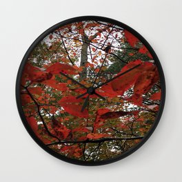 Autumn Leaves in Red Wall Clock