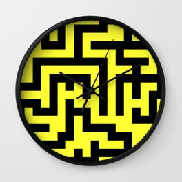 Black and Electric Yellow Labyrinth Wall Clock