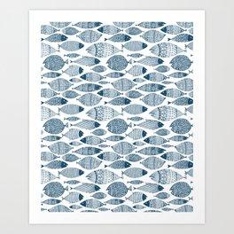 Blue Fish White Art Print