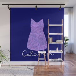 Cats are Better Than People Purple Abstract Colorful Print Wall Mural