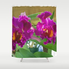 Frilly Orchids Shower Curtain