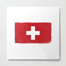 Cross Switzerland Flag Vintage Swiss Fan Metal Print