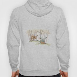 An Autumn Fall Scene - A Fawn and a Young Boy Hoody