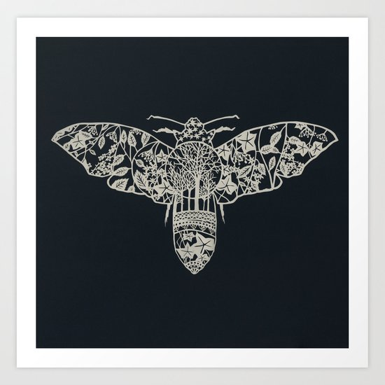 Moth Paper-cut Art Print