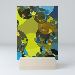 billie -vivid abstract design yellow blue brown chartreuse green Mini Art Print