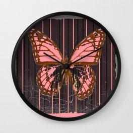ANTIQUE GRUBY PINK BUTTERFLY ART Wall Clock