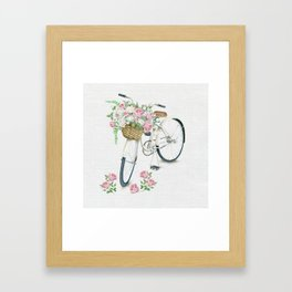 Vintage White Bicycle with English Roses on Paper Background Framed Art Print