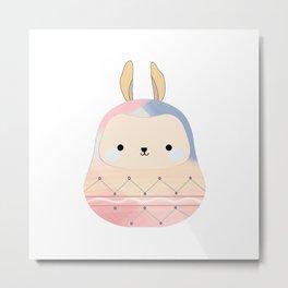 Easter Bunny Daruma Metal Print