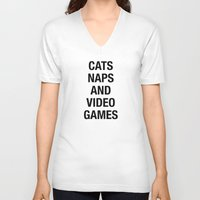 video games V-neck T-shirts featuring Cats Naps Video Games by ClicheZero
