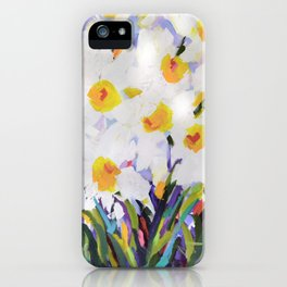 White Daffodil Meadow iPhone Case
