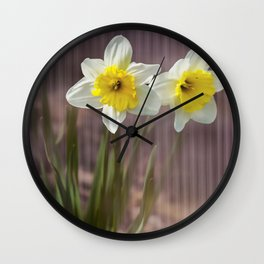 Daffodils Through Violet Glass Wall Clock