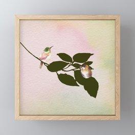 Watercolor Hummingbirds on a Branch Framed Mini Art Print