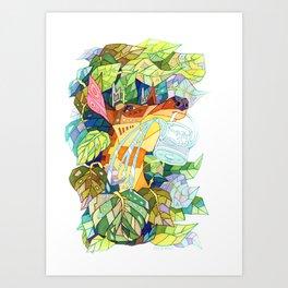 deer and garden Art Print
