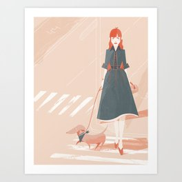 Girl Walking Art Print