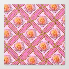 CREAMY  ROSES & RAMBLING THORNY CANES ON  PINK  DIAGONAL PATTERNS Canvas Print