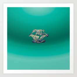 Faux Real - Teal - This is Not Typography Art Print