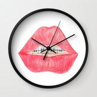 lip Wall Clocks featuring lip teeth by ArtSchool