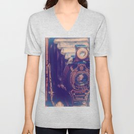 Preserving the Past a digital photograph of a vintage folding camera Unisex V-Neck