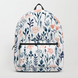 Watercolor Pastel Pink and Blue Floral Backpack