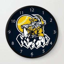 Miner prospector baseball mascot . Wall Clock