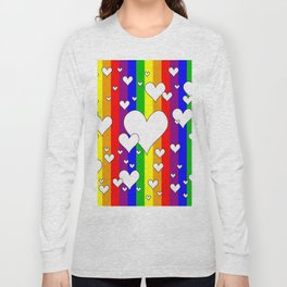 Gay flag with the colors of the rainbow with hearts Long Sleeve T-shirt
